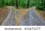 landscape with fork rural roads ... | Shutterstock . vector #412671277