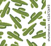 green cactus plants pattern | Shutterstock .eps vector #412672693