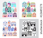 cartoon colorful houses...   Shutterstock . vector #412685173