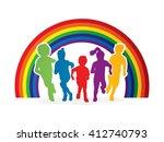 group of children running  ... | Shutterstock .eps vector #412740793