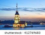maiden's tower at sunset.... | Shutterstock . vector #412769683