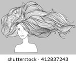 beautiful white girl with long... | Shutterstock .eps vector #412837243