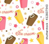 ice cream colorful seamless... | Shutterstock .eps vector #412837543