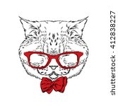 funny cat in a tie and glasses. ... | Shutterstock .eps vector #412838227