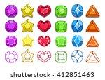 colorful cartoon gem icons set  ...