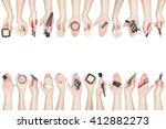 collection of makeup cosmetics... | Shutterstock . vector #412882273