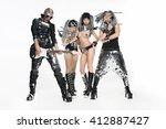 music band in original costumes ... | Shutterstock . vector #412887427