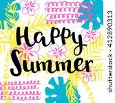 happy summer hand drawing...   Shutterstock .eps vector #412890313
