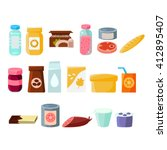 every day products set  of flat ... | Shutterstock .eps vector #412895407