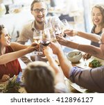 dinner dining wine cheers party ... | Shutterstock . vector #412896127