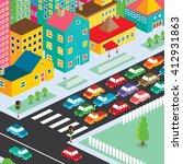 isometric residential view... | Shutterstock .eps vector #412931863