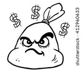 black and white angry money bag ... | Shutterstock .eps vector #412960633