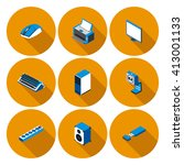 flat icons with accessories for ... | Shutterstock .eps vector #413001133