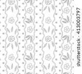hand drawn vector floral doodle ... | Shutterstock .eps vector #413003797