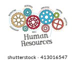 gears and human resources... | Shutterstock .eps vector #413016547