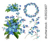 the set of forget me not... | Shutterstock . vector #413022607
