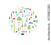 fishing icons. flat style... | Shutterstock .eps vector #413082283
