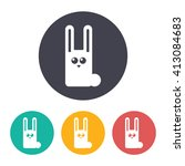 vector flat rabbit icon with...   Shutterstock .eps vector #413084683