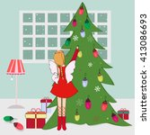 christmas card with fairy and... | Shutterstock .eps vector #413086693