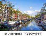 beautiful amsterdam scene with... | Shutterstock . vector #413094967