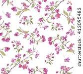 realistic sakura japan cherry... | Shutterstock . vector #413095483