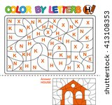 puzzle for kids. color by... | Shutterstock .eps vector #413108353