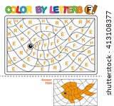 puzzle for kids. color by... | Shutterstock .eps vector #413108377