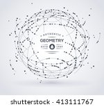 wireframe mesh broken spherical ... | Shutterstock .eps vector #413111767