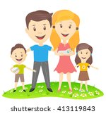 vector image of a happy family... | Shutterstock .eps vector #413119843