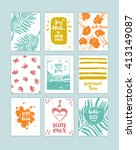 hand drawn set of summer cards  ... | Shutterstock .eps vector #413149087
