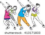 fitness group dance illustration | Shutterstock .eps vector #413171833