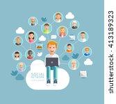 social network conceptual flat... | Shutterstock .eps vector #413189323