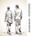 sketch of walking couple  hand...