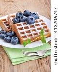 sweet dessert  belgian waffles... | Shutterstock . vector #413206747