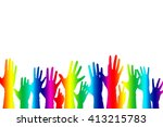 hands up color background... | Shutterstock . vector #413215783