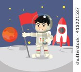 astronaut holding flag on moon  | Shutterstock . vector #413221537