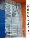 Small photo of details of aluminum facade and aluminum panels on industrial building