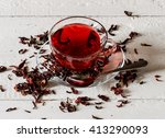 cup of karkadeh red tea with... | Shutterstock . vector #413290093