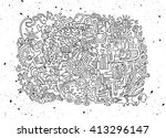 hipster hand drawn crazy doodle ... | Shutterstock .eps vector #413296147