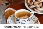mocaccino and bagels | Shutterstock . vector #413304613