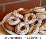 mountain of glassed bagels  | Shutterstock . vector #413304643
