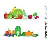 illustration with vegetables.... | Shutterstock .eps vector #413318077