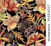 seamless tropical flower  plant ... | Shutterstock . vector #413319217