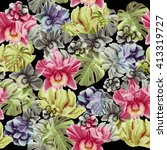 seamless tropical flower  plant ... | Shutterstock . vector #413319727