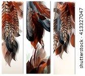 floral vertical brochures set... | Shutterstock .eps vector #413327047