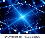 Blue Glowing Shining Star With...
