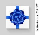 vector white square gift box... | Shutterstock .eps vector #413336587