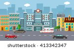 flat vector hospital with cars... | Shutterstock .eps vector #413342347
