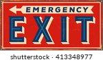 vintage metal sign   emergency... | Shutterstock .eps vector #413348977