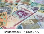 variety of middle east banknotes | Shutterstock . vector #413353777